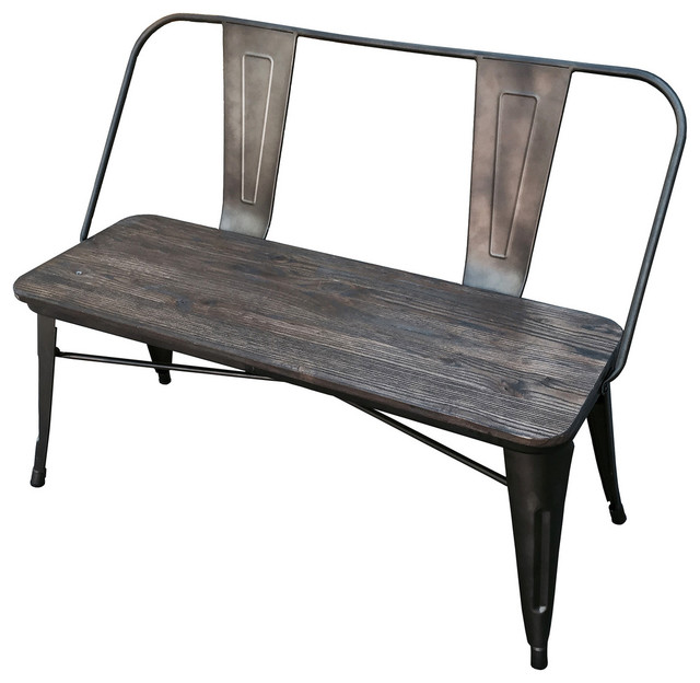 Industrial Style Double Bench Gunmetal Industrial Accent And Storage Benches By Inspire