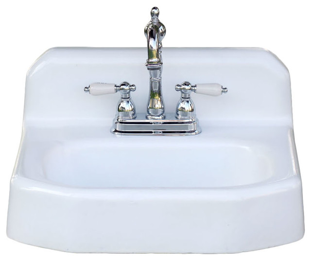 Consigned kohler refinished 1958 backsplash apron wall mount cast iron bath sink country Kohler cast iron bathroom sink
