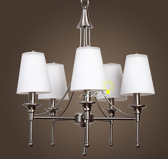 Modern Chandeliers Nyc: Modern 5 Brushed Stainless And Glass Shades Chandelier