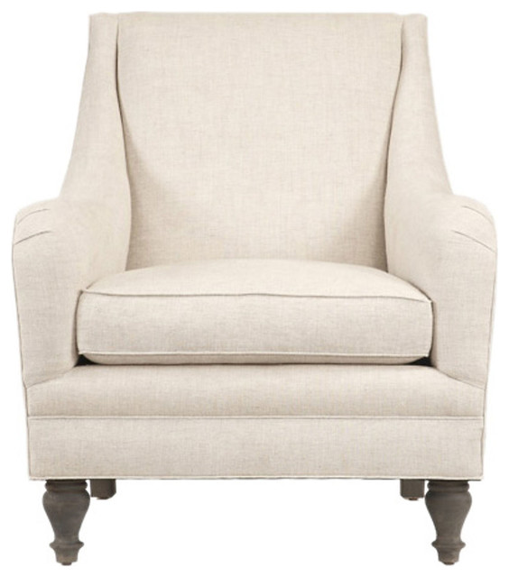 Yves Linen Accent Chair Ivory Contemporary Armchairs