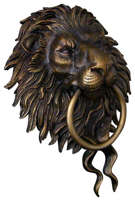 Lion head door knocker bronze traditional door knockers by karl deen sanders - Lion face door knocker ...