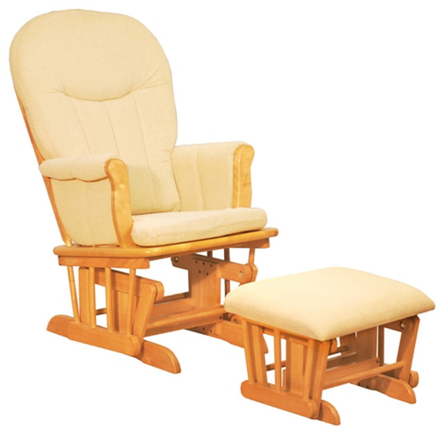Afg Baby Deluxe Glider Chair With Ottoman In Natural With