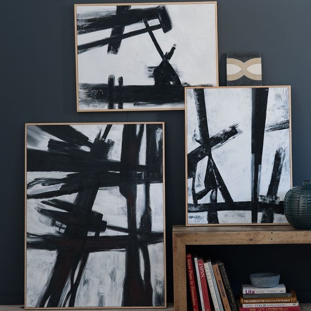 Abstract Black + White Wall Art - Modern - Artwork - by ...