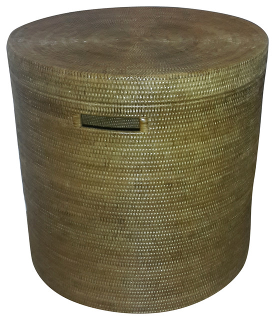 Hand Woven Rattan Round Drum End Table, Small Tropical