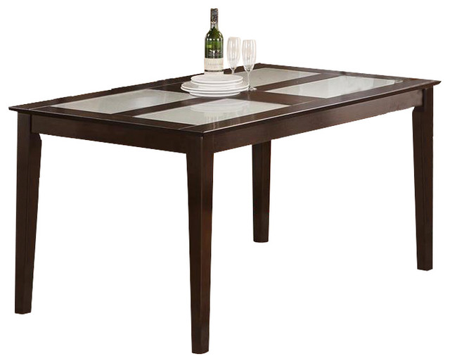 Capri table with 4 panels of tempered frosted glass top for Frosted glass dining table