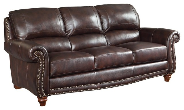 Brown Leather Sofa With Nailheads Traditional Sofas  : traditional sofas from www.houzz.com size 640 x 384 jpeg 53kB