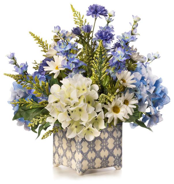 Hydrangeas In Blue Silk Flower Arrangement Mediterranean