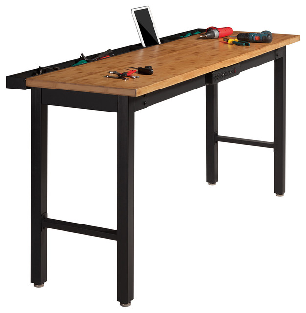 newage 72 quot work bench with bamboo top and powerbar ehemco kitchen island cart natural butcher block bamboo