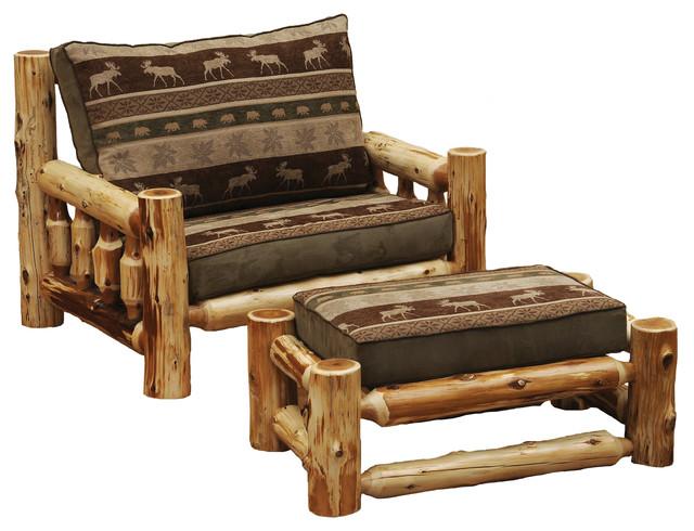 Chair And A Half And Ottoman: Cedar Log Frame Ottoman, Chair-and-a-Half, Includes Fabric