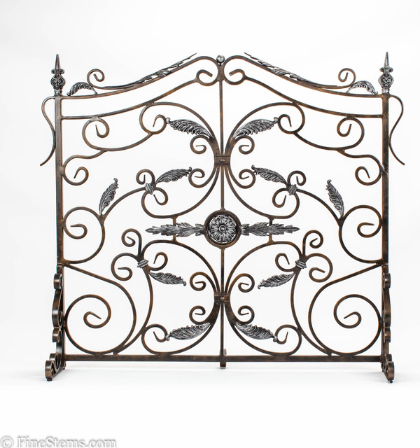 Bronze and silver fireplace screen traditional for Silver fireplace doors