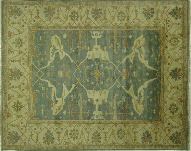 One of a kind oushak fish design 8x10 blue hand knotted for Fish area rug
