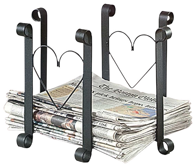 98329 Wrought Iron Newspaper Holder, Black - Traditional - Fireplace Accessories - by Renovator ...