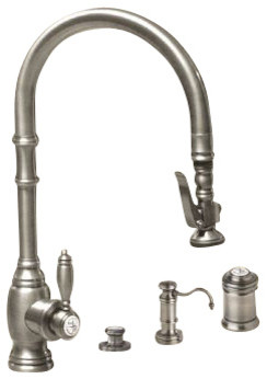 Extended Reach Kitchen Faucet With Soap Dispenser Antique Brass Traditional Kitchen Faucets