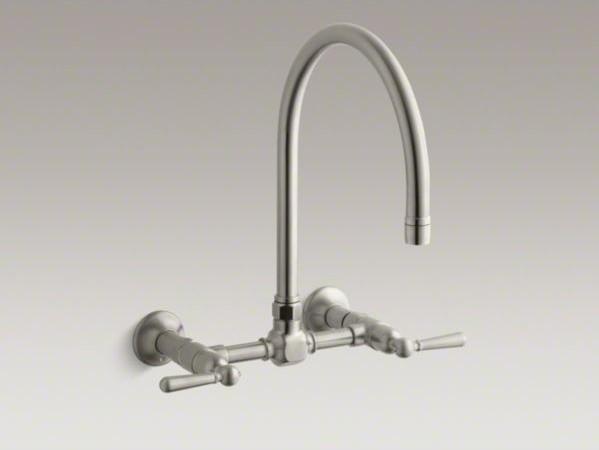 Kohler Hirise Two Hole Wall Mount Bridge Kitchen Sink Faucet With 13 7 8 Goosen Contemporary
