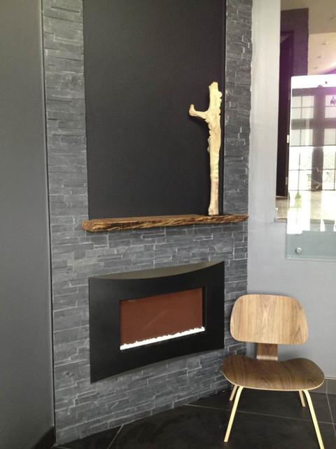 Solid Wood Live Edge Reclaimed Mantle - Modern - Fireplace ...