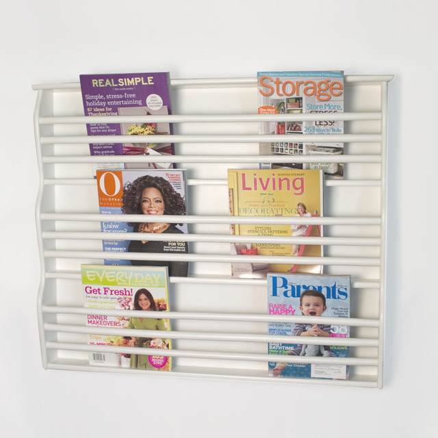 Deluxe wall mount magazine rack contemporary magazine for Magazine racks for home