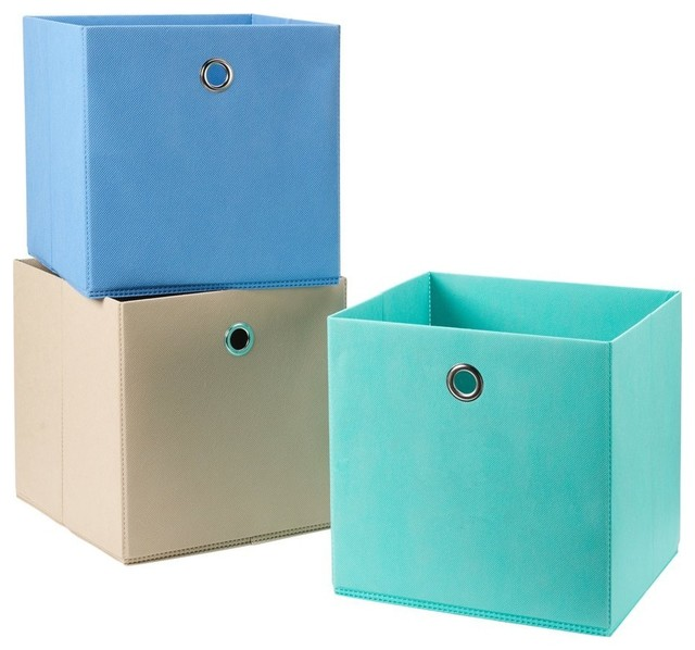 3-Pack Foldable Fabric Storage Bins, Soft Storage Cubes in Aqua, Blue and Brown - Contemporary ...