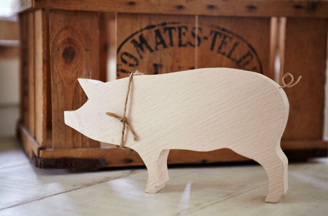Wood pig modern decorative objects and figurines by for Modern home decor objects