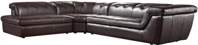 Bella italia leather 397 sectional sofa cream for Bella chaise dark brown