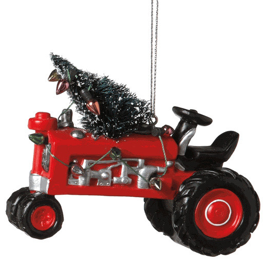 Red Tractor with Christmas Tree u0026 Lights Ornament - John Deere Farm Country Gift - Traditional ...