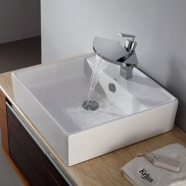 Kraus C-KCV-150-14801CH White Square Ceramic Sink and ...