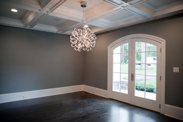 dining room decor interior design wall gray color wooden floor | Tenafly NJ Custom Estate - Contemporary - Dining Room ...