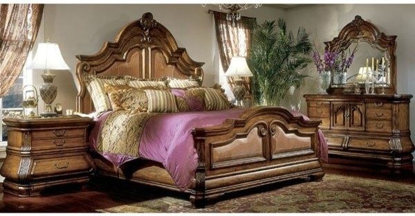 Aico furniture tuscano mansion bedroom set in biscotti 34022 26 set bedroom furniture sets for Bedroom furniture salt lake city