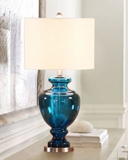 glass trophy base table lamp with linen shade beach style table. Black Bedroom Furniture Sets. Home Design Ideas