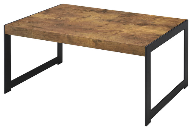 Industrial Coffee Table Solid Wood Top Black Thin Metal Legs Square Lines Rustic Coffee