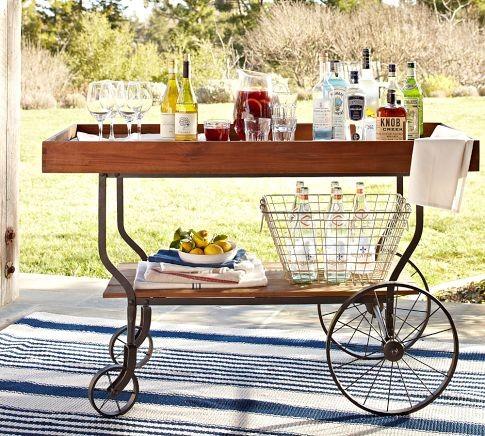tavern bar cart modern outdoor servierwagen von pottery barn. Black Bedroom Furniture Sets. Home Design Ideas