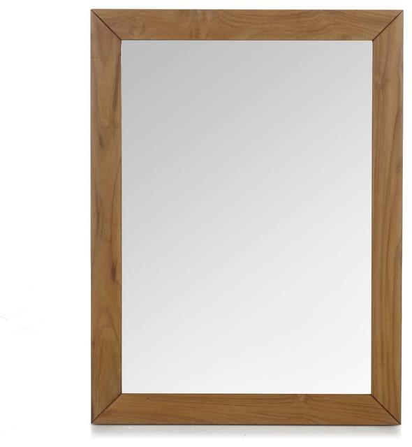 Antigua miroir en teck 80cm exotique miroir de salle for Miroir 3 volets salle de bain
