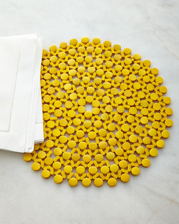 Round Bamboo Placemat - YELLOW - Contemporary - Placemats