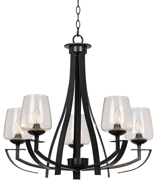 "Perry Collection 27"" Wide Black Iron Chandelier Rustic"