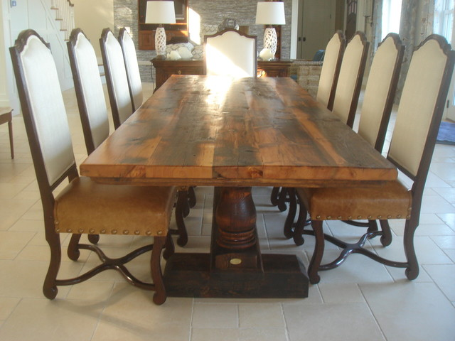 Reclaimed Antique Wood Dining Table with Turned Trestle  : transitional dining tables from www.houzz.com size 640 x 480 jpeg 74kB