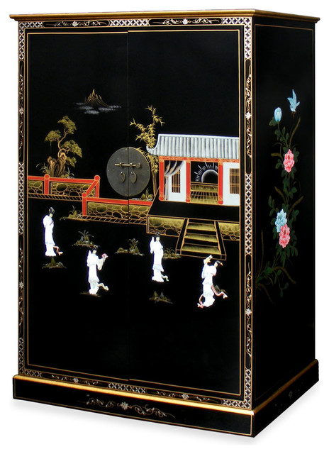 Black Lacquer Courtyard Design Computer Armoire - Asian - Armoires And Wardrobes - by China ...