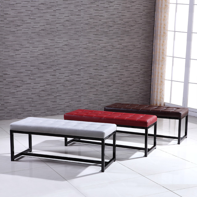 Signature Designs Modern Metal Tufted Bench Contemporary