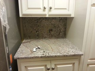 Bianco Antico Counter-top and full height granite back ...
