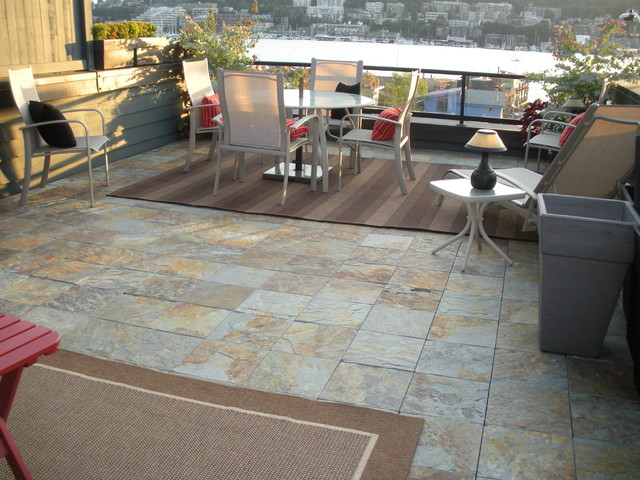 Interlocking Slate Deck Tiles On Patio Modern