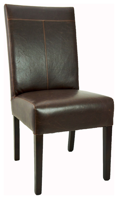 Antique-Style Brown T-Patch Leather Dining Chair - Modern ...