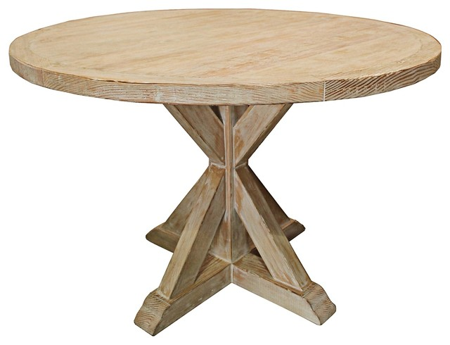 Simone 54 round white recycled wood dining table for Traditional dining table for 8
