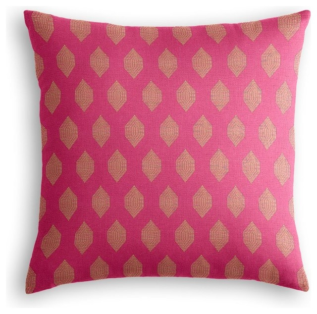 Pink and Orange Diamond Throw Pillow - Midcentury - Decorative Pillows - by Loom Decor