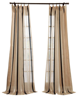 Stripe sheer curtain traditional curtains by half price drapes - Carlton Natural Linen Blend Stripe Sheer Curtain Single