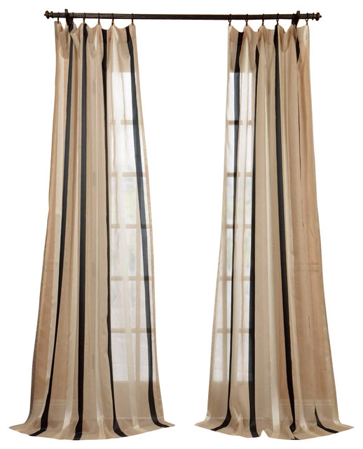 Linen Stripe Kitchen Curtains: Carlton Natural Linen Blend Stripe Sheer Curtain Single