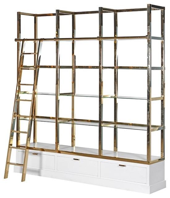 White and gold kessington shelving unit with ladder - Modern white shelving unit ...