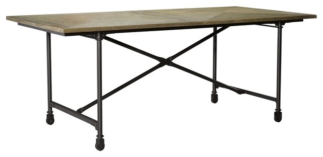 Architect Industrial Wood Metal Dining Table on Casters  : industrial dining tables from houzz.co.uk size 640 x 312 jpeg 23kB