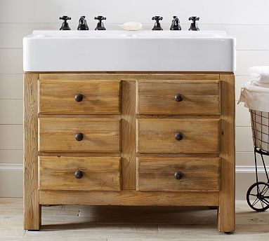 Mason Reclaimed Wood Double Sink Console Wax Pine Finish