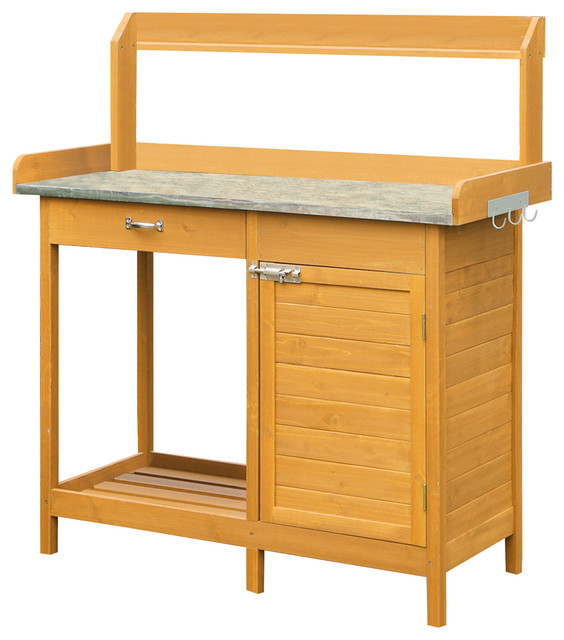 Deluxe Potting Bench With Cabinet - Modern - Potting Benches - by Convenience Concepts