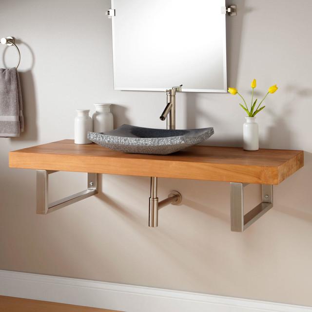 49 teak wall mount vessel sink vanity rectangular for Floating bathroom vanity brackets