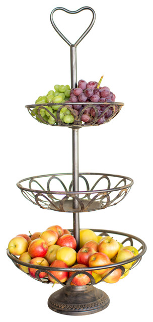 Metal 3 tiered serving tower traditional fruit bowls and baskets by sun moon home llc - Tiered fruit bowl ...