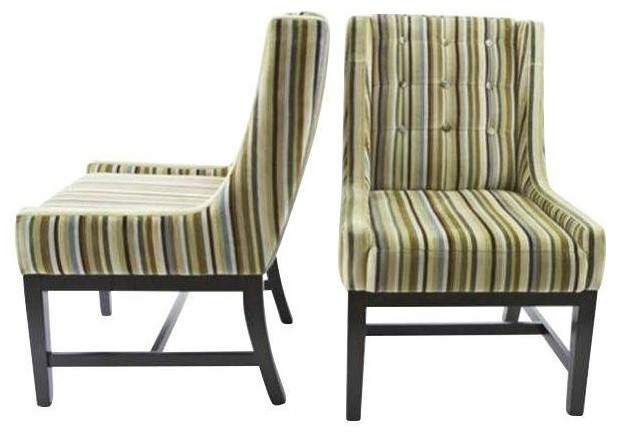 Vanguard Furniture Velvet Striped Chairs A Pair Contemporary Dining Cha